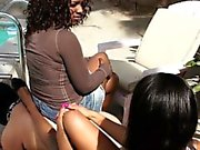 Ebony Babes Use Their Slave As A Table