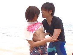 Saya Tachibana sex at the beach with a younger guy - More at japanesemamas