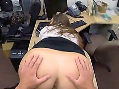 Dressed Up Brunette Blowjob And Fucking In Pawn Shop