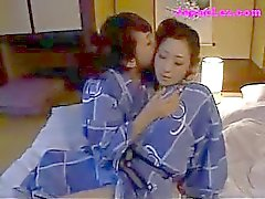 2 Girls In Kimonos Kissing Passionately Sucking Nipples Rubbing Tits On The Bed
