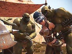 3D Babes Zerstört durch brutale Orks !