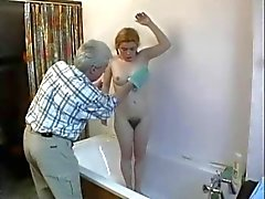 Old Man Fucks Hairy cunted Zopf Teenie Esel Aufnahme