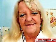 Grandma in uniform spreads blond shaggy piss hole