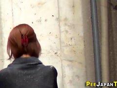 Japanese babes gush pee