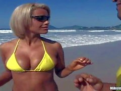Brazilian beach girl Aghatha in yellow bikini
