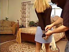 Amber Michaels tied by oak