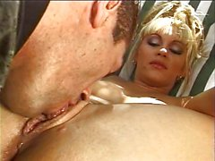 Blond babe sucking and vaginal working