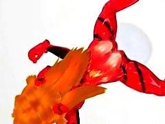 Рогатый 3D хентай блядь сосание щупальца
