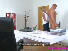 FemaleAgent Stud satisfies agents cock lust