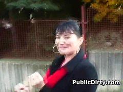 Slutty Big Titty European Brunette Sucking Dick In Public