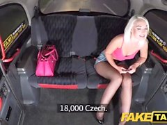 Fake Taxi Sexy blonde in tight denim shorts with fishnets and heels