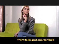 Skinny blonde on the casting couch shows what she can do fucking