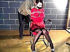 Red Dress Bondage For Asian Hottie
