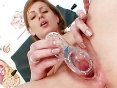 naughty nurse olga barz pussy flexing with two dildos
