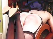Blond stockings babe spanked hard
