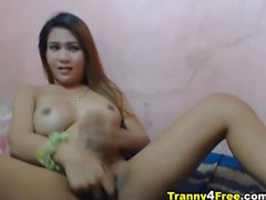 Huge Cock Busty Asian Tranny Masturbation