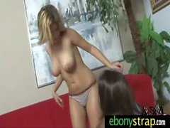 Interracial Lesbians Fuck With a Strapon 17