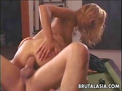 Skinny ass Asian blonde bombshell pool table fucked