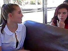 Schoolgirl Natalie Monroe sex in the bus