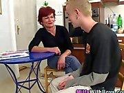 Redheaded slut milf fucks and sucks the dude well
