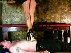 Jumping hard on slave trampling