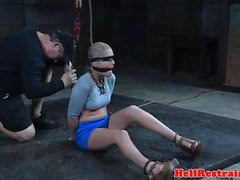 Nipple punished sub restrained on a sybian