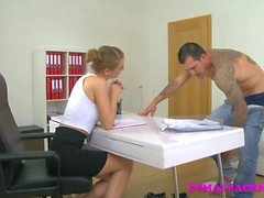 FemaleAgent British studs fat long cock gives sexy agent a sticky facial
