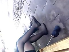 dangling flats in black pantyhose
