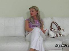 Blonde Czech amateur babe has casting