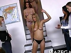 Sexy pledges hazes with sweet lesbo sex