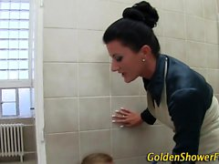 Kinky whore pissed on