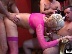 Desirable blonde in fishnets gets nailed
