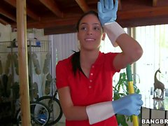 Latina maid Jasmine Caro in tight blue jeans goes topless