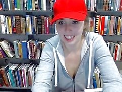 teen latina in public library showing off her huge tits and pussy