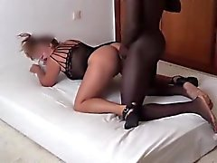 Hubby watchs her wife with black cock