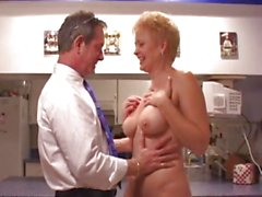 Over 50 blonde kitchen fuck