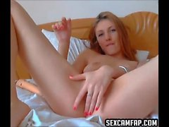 Blonde Teen With Buttplug Fingering Her Pussy