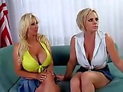 Two white chicks get to bang The First Cock