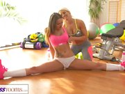 Fitness Rooms Fit big tits lesbian babes have hot and sweaty sex