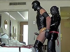 Latex mistress dominates her sex slave hunk 6