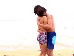 Saya Tachibana sex at the beach with a younger guy