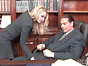 Horny blonde seduces the principal