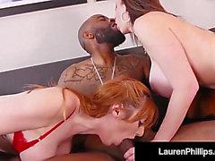 Lauren Phillips tem três vias interracial no serviço do carro boober!