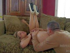 Cute blonde Bailey Blue in pink panties has sweet snatch