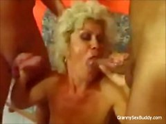 Granny likes two cocks at the same time