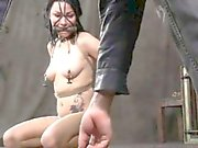 Nipple clamped slut being punished by powerful male master