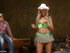 Hot cowgirl Chary Kiss blows two cocks