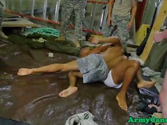 Wrestling military hunk drills ass in group