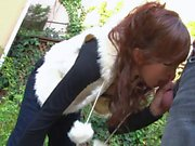 Cute little whore is outdoors sucking cock like a good slut