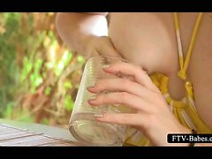 Shy barely legal girl squeezing hot tits in a glass